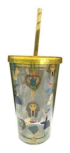 Puckator CUP11 Verre en Plastique avec Paille et Couvercle - Design Egypte Ancienne, Doré, Bleu, Transparent, 10 x 10 x 16 cm