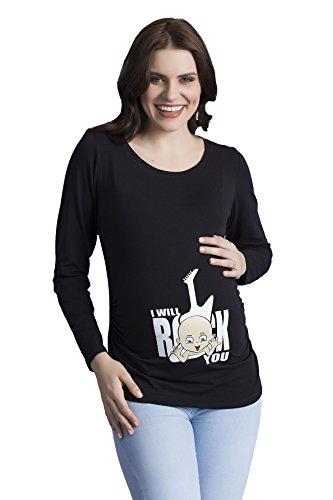 I Will Rock You - Schwanger Umstandsshirt witzige süße Umstandsmode T-Shirt mit Motiv Aufdruck Schwangerschaft, Langarm (Schwarz, Small) -