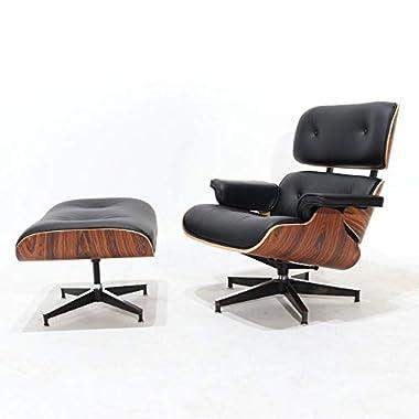 Premium Leder schwarz und weiß Lounge Sessel und Polsterhocker Palisander, Design von Charles und Ray Eames aus hellem und dunklem Rosenholz, Walnuss oder Ashwood Black Leather - Dark Rosewood finish