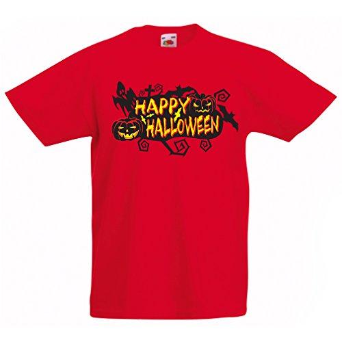 Kinder T-Shirt Happy Halloween! (14-15 years Rot Mehrfarben)