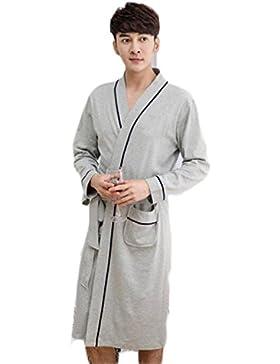 Pijama de rayas para hombre/Mobiliario para casa de primavera y otoño/Albornoz cálido y cómodo Vestido de noche...