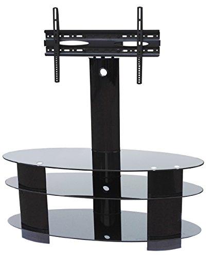 """Ultra voladizo negro de vidrio templado y soporte de TV de acero inoxidable para TV hasta 65 """"de tamaño VESA 600x400mm TV stand moderno con inclinación y soporte giratorio universal"""