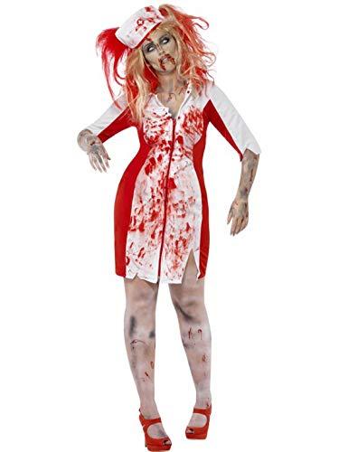 Kostüm Kurvige - Luxuspiraten - Damen Frauen Kostüm kurvige blutige Krankenschwester Arzthelferin im Horror Zombie Look, Bloody Curvy Nurse, perfekt für Halloween Karneval und Fasching, 2XL, Weiß