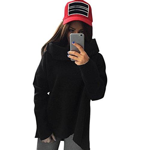 Elecenty Damen Hemden Tops Hemd Blusen Schal Kragen T-Stücke Langarm-Bluse Langarmshirt Irregulär Pullover Bluse T-Shirt Frauen Sweatshirts Pulli Solide Blusentop (S, Schwarz) (Gedruckt Schädel Schal)