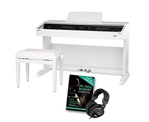 Classic Cantabile DP-A 310 WM E-Piano SET (Digitalpiano 88 Tasten Hammermechanik, Kopfhöreranschluss, USB, Begleitautomatik, 3 Pedale, Piano für Anfänger + Pianobank + Kopfhörer + Schule) weiß (Digital-piano Fall 88)