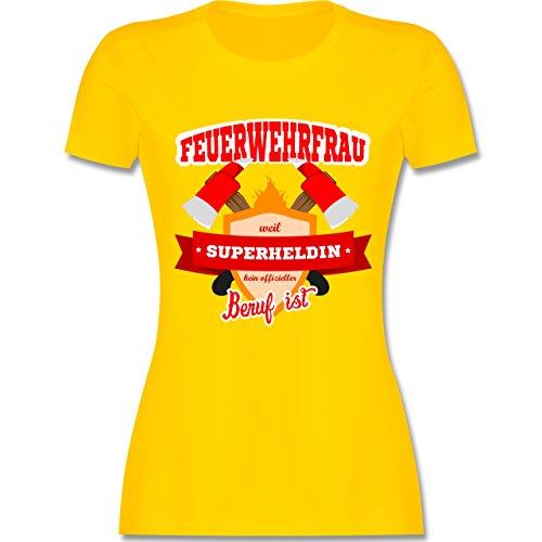 Feuerwehr - Feuerwehrfrau - weil Superheldin kein offizieller Beruf ist - tailliertes Premium T-Shirt mit Rundhalsausschnitt für Damen Gelb