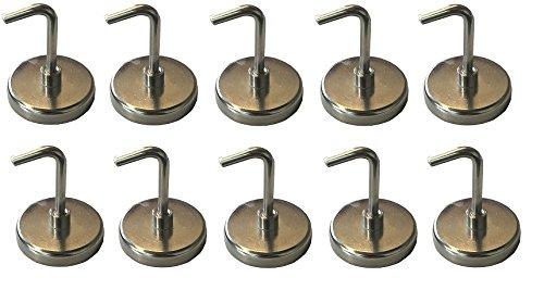 LISSEK 10 Stück Magnethaken - Halter mit Traglast von bis zu 6 kg - Superstarke Magnete