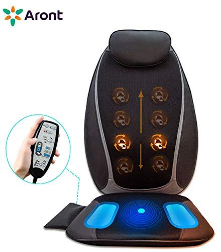 Aront Massageauflage mit Wärmefunktion Elektrisch Shiatsu Massagesitzauflage mit Kneten Massagematte für Nacken Rücken Entspannung für Haus Büro Auto Geschenk