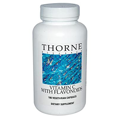 Thorne Research - Vitamin C w/ Flavonoids - Pure Ascorbic Acid Supplement with Citrus Bioflavonoids (Rutin, Hesperidin, and Quercetin) - 180 Capsules