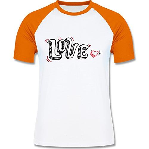 Valentinstag - Love Schrift mit Herz - zweifarbiges Baseballshirt für Männer Weiß/Orange