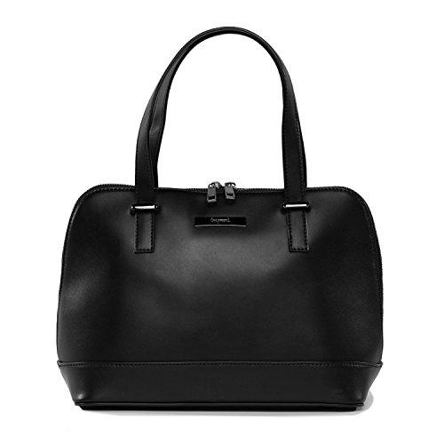 tragwert. Bolso de mano shopper bag ISABELLA en negro - Bolso de mujer bandolera bolso de hombro en cuero vegano