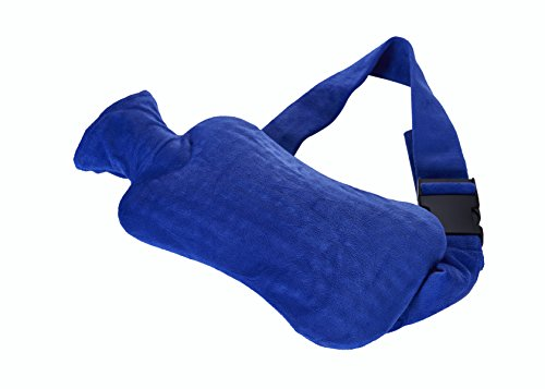 Strap-Wärmflasche aus PVC mit Gurt zum Umschnallen & blauem Bezug – gezieltes Bekämpfen von Schmerzen in Rücken, Nieren, Magen oder Regelschmerzen (Gurt Kuss)