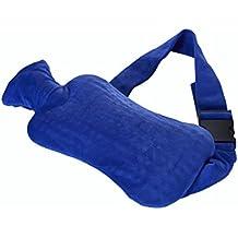 Strap-Wärmflasche aus PVC mit Gurt zum Umschnallen & blauem Bezug – gezieltes Bekämpfen von Schmerzen in Rücken, Nieren, Magen oder Regelschmerzen
