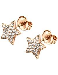 KINIVA Pendientes de plata 925 médica pendientes hipoalergénicos de plata auténtica joyas regalos para niñas mujeres (estrella/luna/Smiley, plata/oro rosa)