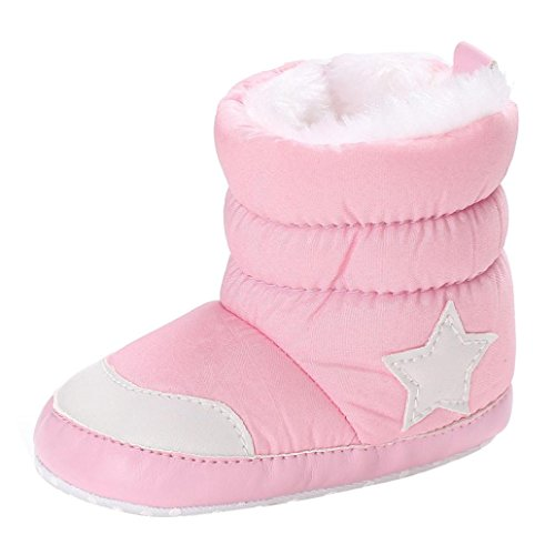 KanLin Toddlers Soft Booties Snow Boots Newborn Baby Girl Boots (12-18 monat, Pink)