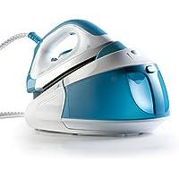 Domo DO7103S 1.8L Teflon soleplate Azul, Color blanco estación plancha al vapor - Centro de planchado (90 bar, 1,8 L, 150 g/min, 90 g/min, Teflon soleplate, Azul, Blanco)