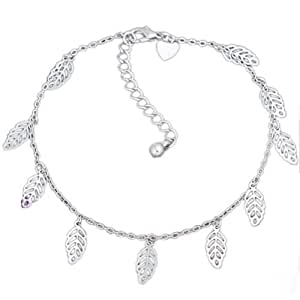 Qiyun Silver Tone Dangle Charm Chain Ankle Bracelet Anklet For Women + One Free Anklet Gift - Leaves