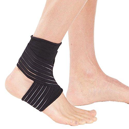 Actesso Elastische Fußgelenkbandage Sport Bandage - sprunggelenk mit wickelband. Die Ultimative fussbandage knöchel für zerrungen, verstauchungen und sportverletzungen (Mittelgroß Schwarz)