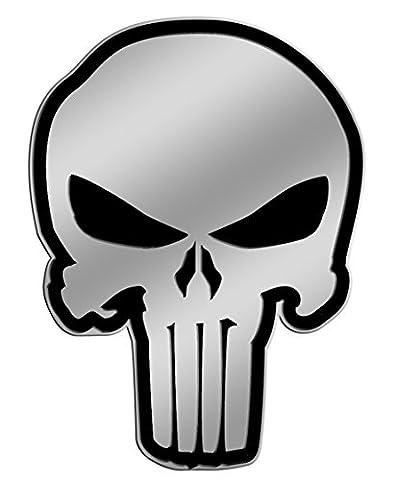 The Punisher Skull on Silver STICKER, Original Licensed Symbol on Embossed METAL STICKER - Large 9 Cm