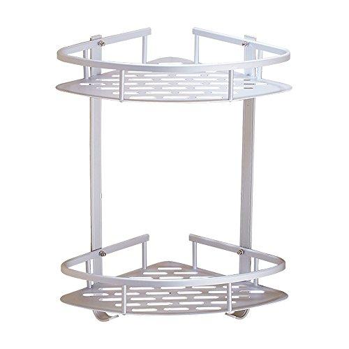 Swallowzy Bathroom Corner Shelf, Durable Aluminum Sticky No Drills Shelf Shower Storage Towel Wall Mount Shelf Shower Caddy Shelf Storage Rack Corner Shampoo Basket Holder with Hooks, Style A 2 Tier