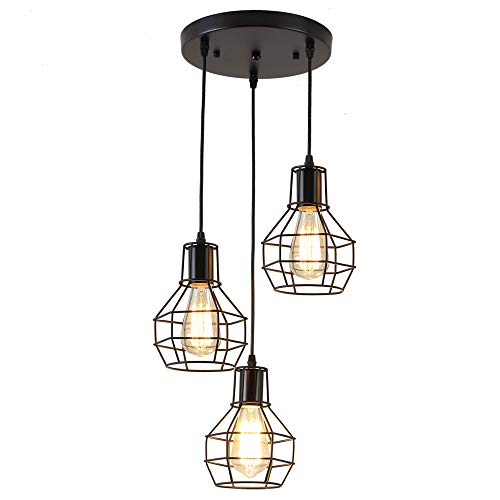 Koonting® 3-testa vintage industriale lampade a sospensione con paralume in metallo nero gabbia, lampadario altezza regolabile,attacco e27.