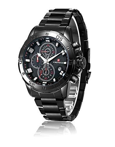 FAERDUO Relojes para hombres, relojes de cuarzo, marcación múltiple, visualización de la fecha, moda, negocios, relojes de lujo, estilo minimalista, ropa deportiva, relojes de regalo