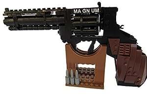 Fat-catz - Lego réplique pistolet revolver Magnum arme et stand - 300 pièces - échelle 1:2