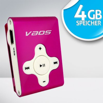 VAOS Mini Clip MP3-Player x-Sports 4GB 4 GB MP3-VS2000 pink