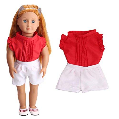Kleider für Puppe, BZLine® T-Shirt Hosen / Schuhe Fit für 18 Zoll American Girl Doll (E) (18-zoll-puppe-handy)