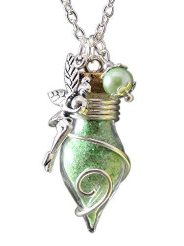 Cadena para mujer con amuleto de la suerte de frasco con polvo de hada de luz, brilla en la oscuridad, color verde de Katharina Fairytale