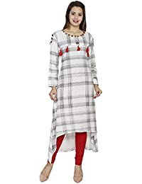 RainDrop Women's Rayon Long Sleeve Round Neck Cold Shoulder Straight Pom Pom Kurti With Button Work (RDWT27_07...