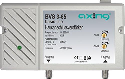 Axing BVS 3-65 Hausanschlussverstärker mit Rückkanal 5-65 MHz (30 dB, 85-862 MHz, 98 dBµV)