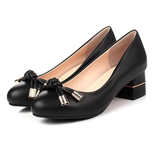 Lemon&T Spring Solid Color PU Round-toe Women Ruffle bowknot Rubber Sole 4.3cm Chunky Chaussures Talons Black