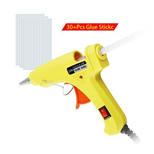 QQPOW Mini Klebepistole mit Heißklebepistole, Klebepistole mit 20 Watt Klebepistole mit 30PCS Transparent Kleber (20V)