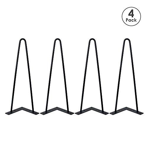 Locisne 4 X Schwerlaste Haarnadel Tischbeine-Überlegener Schweißen Schwarzer Gußstahl 9mm 2 Stangen 16 Zoll Höhe Moderner Stil MetallHairpin Legs Esszimmer Möbelzubehör für Holzmöbel Teetisch & Esstisch