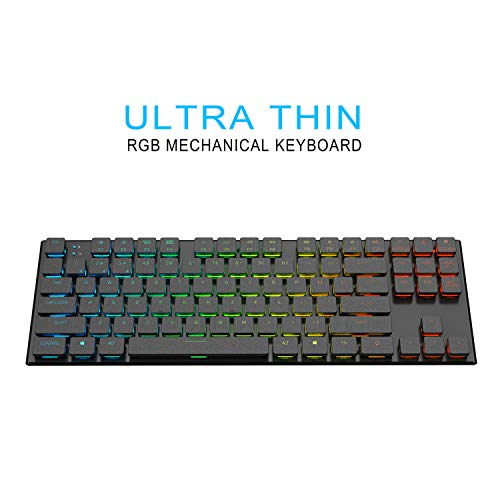 anidees AI-KB-PM87 TKL Ultra dünne kompakte Größe Draht/drahtlose RGB Gaming Tastatur mechanisch 87 Tasten-US-Layout QWERTY Bluetooth Metal Cover