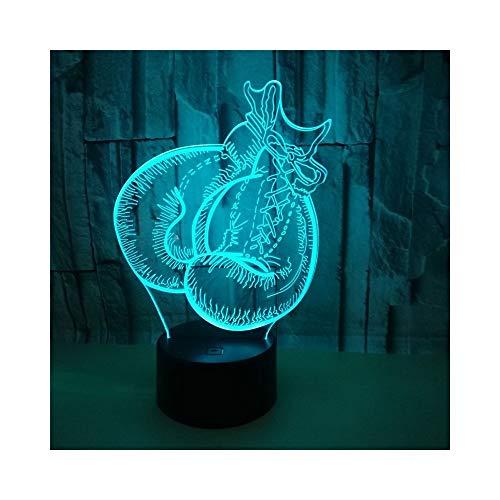 Handschuh-LED-Illusionslicht, optischer Nachttisch 3D Nachtlicht-Beleuchtung Kinderlampe Schlaf Beleuchtung 7 Farbe Touch-Taste dekorative Tischlampe