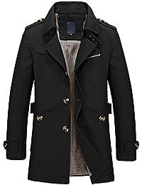 WSLCN Parka Veste Classique Manteau Trench Coat Court Blouson Jacket Décontracté Slim Fit Homme Automne et Hiver