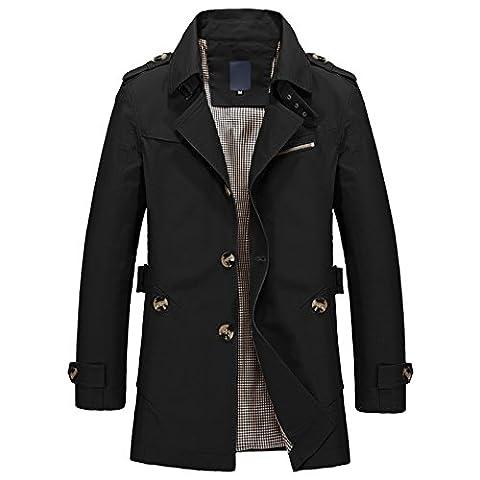 WSLCN Parka Veste Classique Manteau Trench Coat Court Blouson Jacket Décontracté Slim Fit Homme Automne et Hiver Noir FR S (Asie XL)