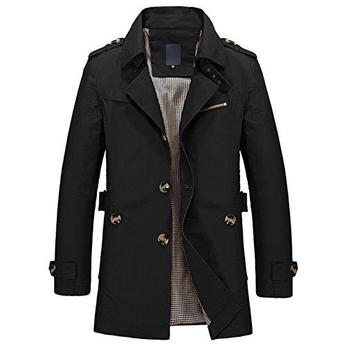Elonglin Mens Military Trench Coat Long Sleeve Single Breasted Turn Down Collar Jacket Short Slim Fit