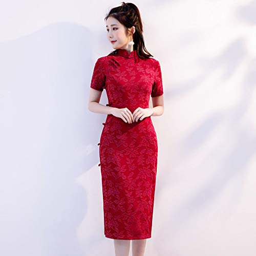 YAN Damenkleider, Ladies Summer Cotton Stand Collar Cheongsam Qipao Wedding Party Ball Prom Gown Cocktail Beach Dress Green Red,Red,XXL