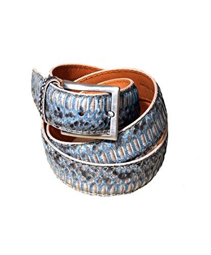 Cintura in vera pelle esotica di pitone/anaconda per abito elegante, lunghezza: 110 cm, colore: arancio