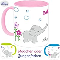 f79f4d202f MissRompy Elefant (802) KinderTasse mit Name Tasse Namentasse Becher  Kinderbecher
