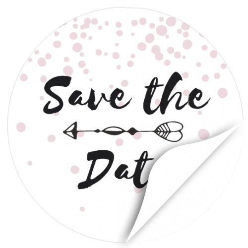 24 Design Etiketten, rund / Save the Date Modern Rosa Schwarz / Hochzeit / Liebe / Heirat / Save the date / Aufkleber / Sticker / für Feiern