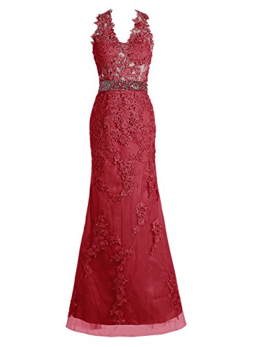 Bbonlinedress Robe de cérémonie Robe de soirée en dentelle tulle forme empire longueur ras du sol Rouge Foncé