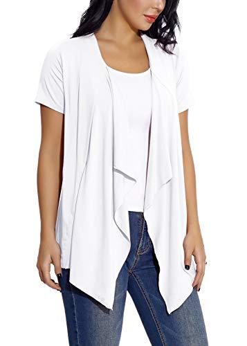 EXCHIC Damen Cardigan mit offener Vorderseite Unregelmäßiger Saum Kurzarm-Outfits (S, Weiß) - Lange Ärmel Schiere Mantel