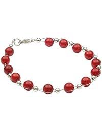 Armband aus echter Bamboo-Koralle rot Armschmuck Armkette Korallenarmband Damen