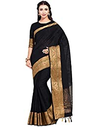 MIMOSA Women's Kanchipuram Linen Saree With Unstitched Blouse Piece (8_Black)