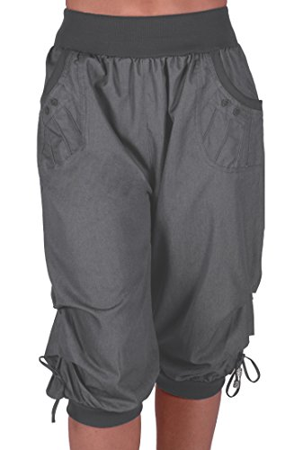 EyeCatchClothing Chicago Damen Capri Crop Shorts Haremshosen der Frauen 3/4 Dreiviertelhose Dark Grauu Gr. 42 Crop Capri