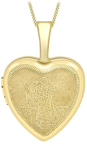 """Carissima Gold 9ct Yellow Gold Small Etched St Christopher Heart Locket on Curb Chain of 46cm/18\"""""""